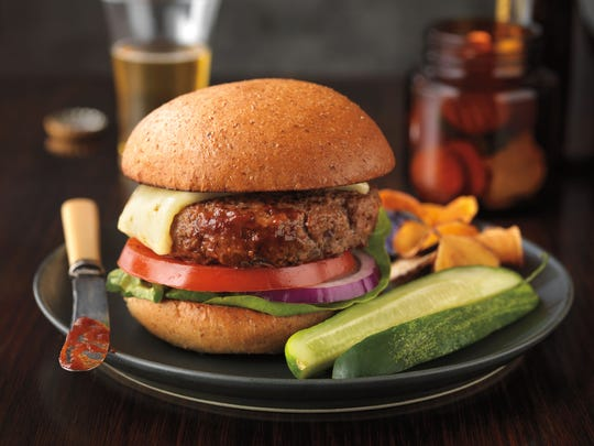 Barbecue sauce in the patty mix makes for an easy barbecue burger.