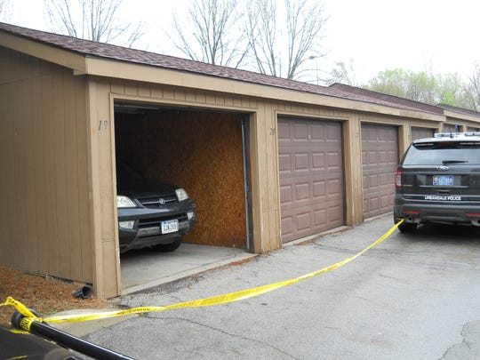 Police tape marks off the garage where Mersed Dautovic and Mevlida Dzananovic were found dead April 18 and 19, 2015.