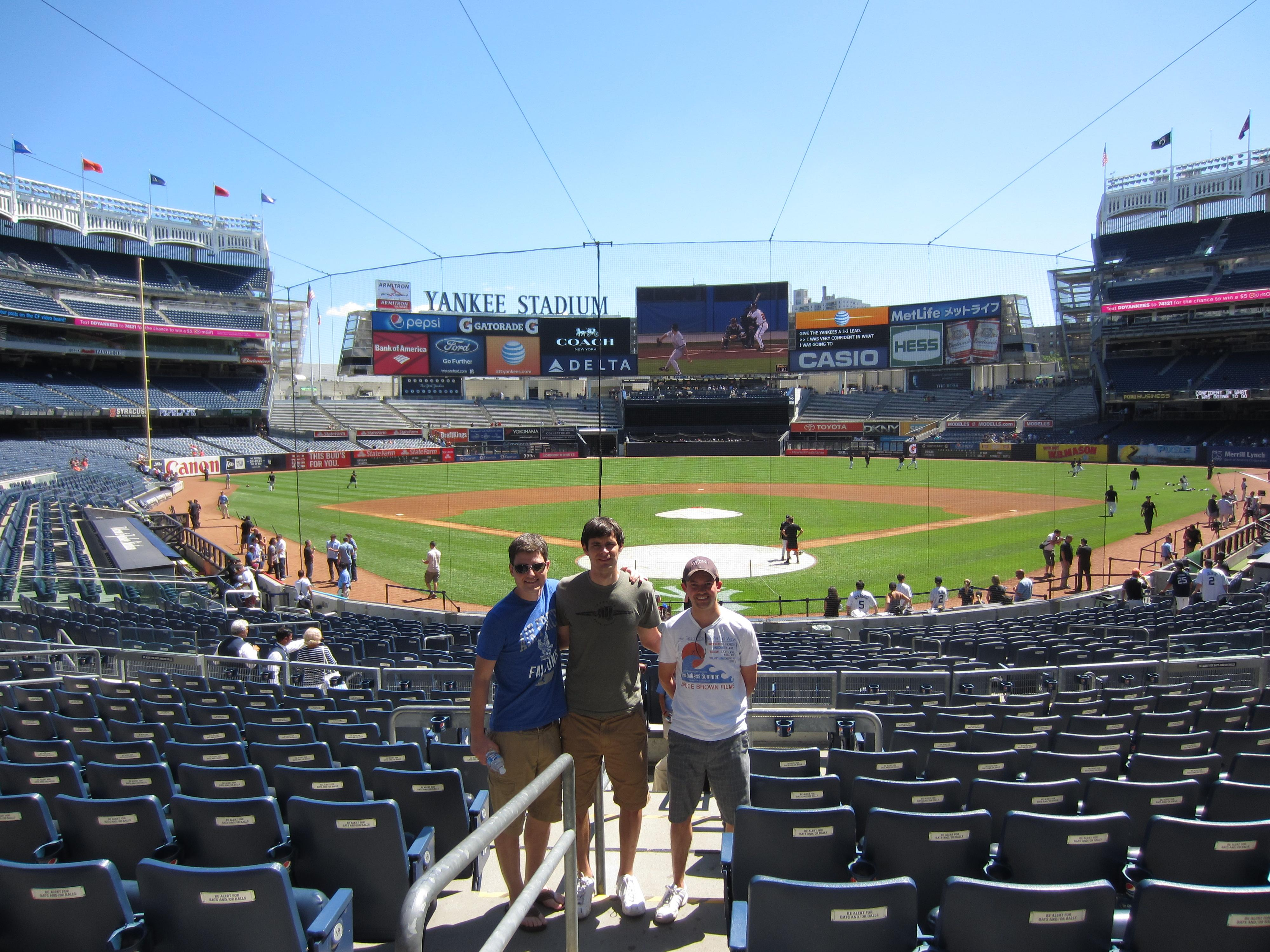 From left, Jason Masteller, Mike Navarro and Ryan Charron at Yankees Stadium in New York.