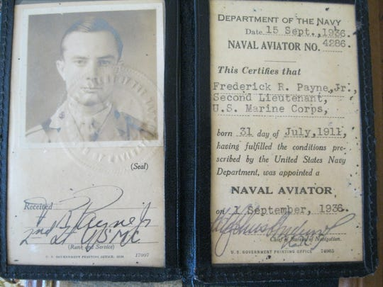 Frederick 'Fritz' Payne's Naval aviation ID issued Sept. 15, 1936.
