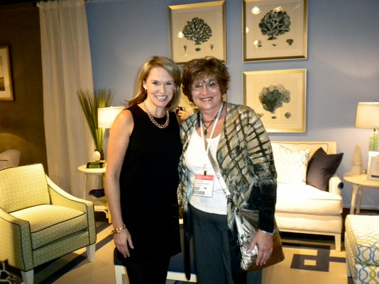 TV personality and nationally acclaimed designer Libby Langdon (left) with Maryann Fisher (right), owner of Decorating Den Interiors of Chambersburg.