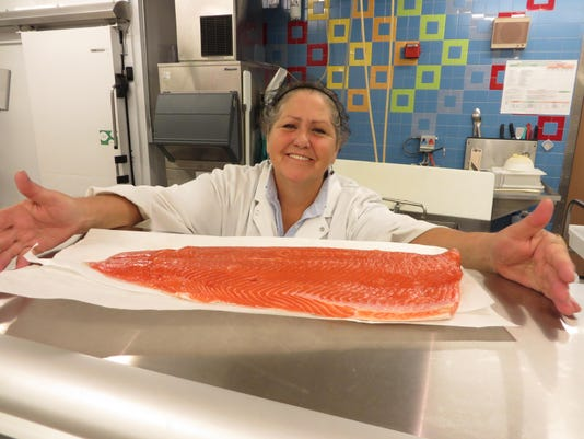 Linda Umland, Seafood Specialist at Publix, Gulf Breeze with fresh wild Alas