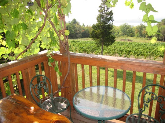 The view from the tasting deck toward Seneca lake from Silver Thread Winery in Lodi. Half the 12 wines they produce are Reislings.
