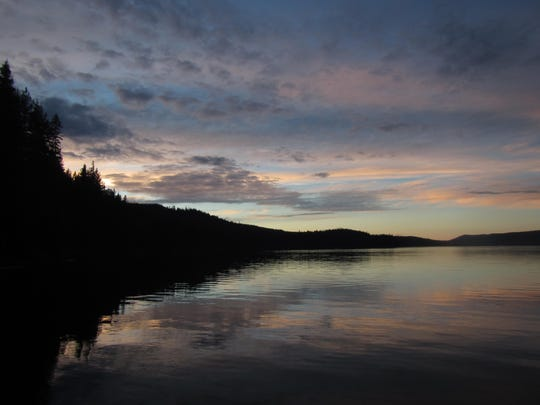 The sun sets at Odell Lake Lodge.