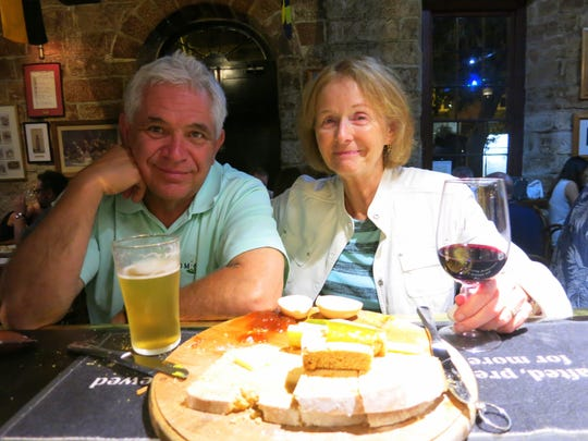 Ernie and Linda Dorling enjoy some pub fare in Sydney,