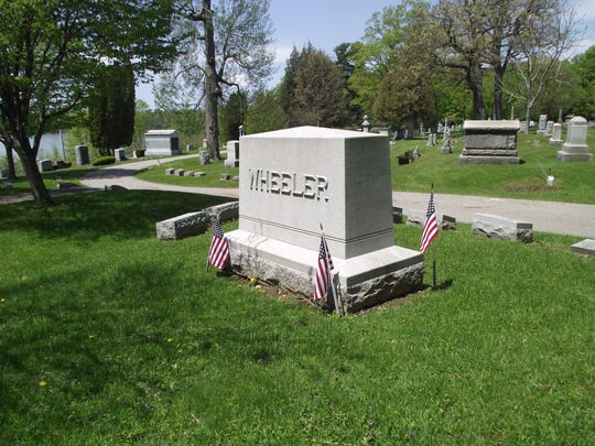 Headstone at Lakeview Cemetery in Burlington of Maj. Sheldon Wheeler who established the U.S. Army Air Service in France.