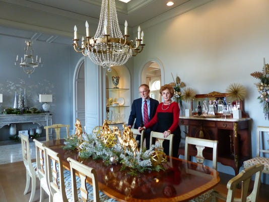 Zelda Beall and Jim Elder in the dining room of Dr. and Mrs. Michael Dole's .JPG