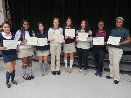 "Eight sophomore girls from The Wardlaw-Hartridge School in Edison attended the 11th Annual Young Women's Conference, ""My Journey, My Voice: Empowering Young Women"" on Dec. 4. This year's theme was ""Mean Stinks."" Pictured with their certifcates, from left: Andrea Tobar of South Plainfield, Shreya Sinha of Edison, Naya Shim of Warren, Carlin Schildge of Westfield, Samantha Anastasiou of Scotch Plains, Sara Begalman of Westfield, Marissa Pyne of Plainfield and Whitney Porter of North Plainfield. These students will develop confidence in themselves and their abilities, and gain the tools and skills necessary to create a positive impact in their schools and communities. Being one of the ""cool kids"" and what it means to be ""cool"" was the main focus and anti-bullying was also incorporated."
