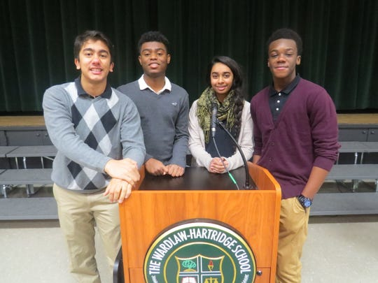 Students who are members of the Spoken Word Club at The Wardlaw-Hartridge School in Edison took turns reciting meaningful and historically significant passages in honor of Martin Luther King Jr.'s Birthday. Pictured from left, Aryan Vavila of Bridgewater, Nathaniel Nyema of Edison, Simran Kaur of Carteret and Claude Djan of Scotch Plains.