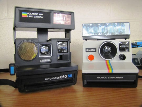 """Two Polaroid cameras which produced """"instant"""" print photographs in technology museum being created at Horseheads Intermediate School."""