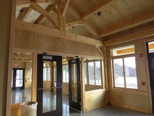 The Lodge is a post-and-beam construction locked with hardwood dowels.