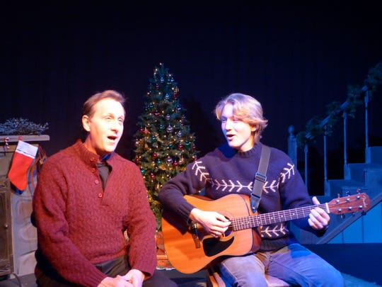 "Third Avenue Playhouse co-artistic director Robert Boles, left, and Isaiah Spetz are shown in a scene from the Stage Door Theater Company production of ""Yuletide Tales"" at TAP."