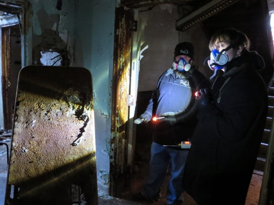 "Steven ""Doogie"" McDougal and Brannon Smith, members of The Tennessee Wraith Chasers, during an investigation featured during the first season of the group's Destination America show ""Ghost Asylum."""