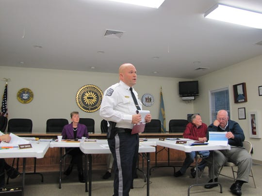 South Bethany Police Chief Troy Crowson talks to town officials and the public about his proposal to add a sixth officer to his department.