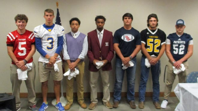 Shown from left are Shaw Crocker, Jay Urich, Jadon Hagood, Vic Garrett, Avery Reece, C.C. Spiers and Peyton Stewart. Not pictured: Coach Paul Sutherland.