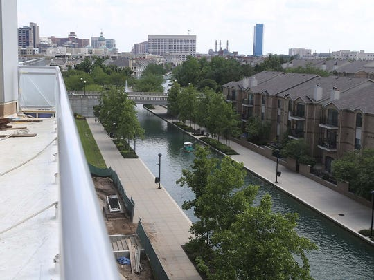 This is a view of the Downtown Canal from 9 on Canal apartments at Ninth Street in Downtown Indianapolis.