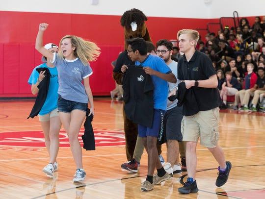 MOT Charter seniors celebrate during a school wide