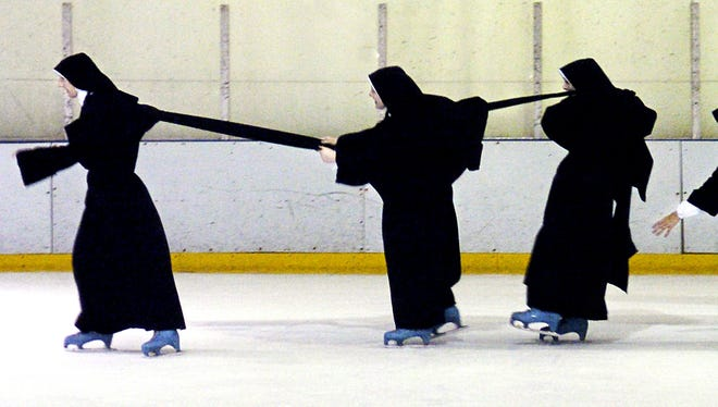 Sisters of the Norwood and Minnesota convents of the Daughters of Mary Mother of Our Savior congregation ice-skate at the Northern Kentucky Ice Center in Crescent Springs over the Thanksgiving holiday in 2004.