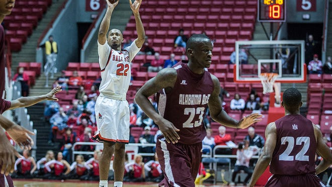 Ball State's Jeremie Tyler shoots past Alabama A&M's defense during their game at Worthen Arena Tuesday, Dec. 29, 2015.