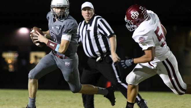 Rancho Mirage's quarterback David Talley looks to pass during the first half of the game against Bell Gardens in Rancho Mirage on Friday, September 29, 2017.