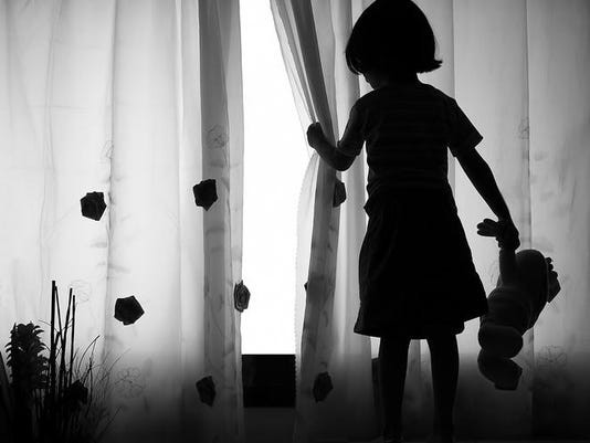 Lonely girl with Doll - Silhouette