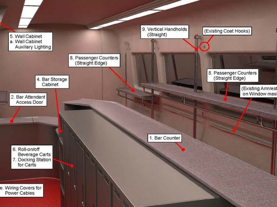 A preliminary design for bar cars on Metro-North.