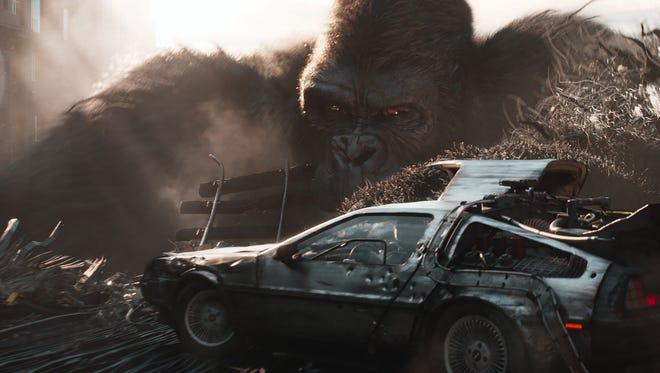 King Kong goes after the DeLorean time machine in 'Ready Player One.'
