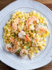 Corn and shrimp