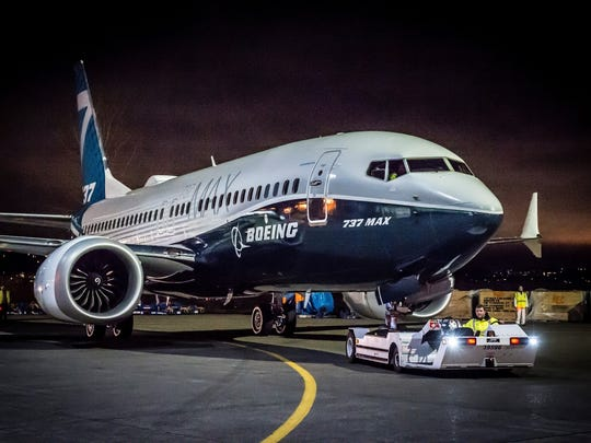 A Boeing 737 MAX on tow.