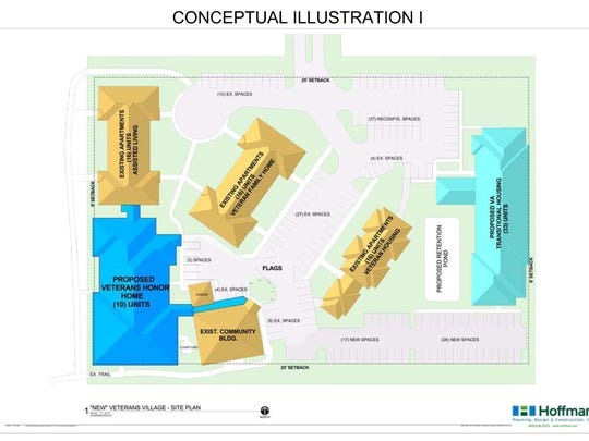 An illustration of the proposed Veterans Village concept was rolled out at Wednesday's press conference.