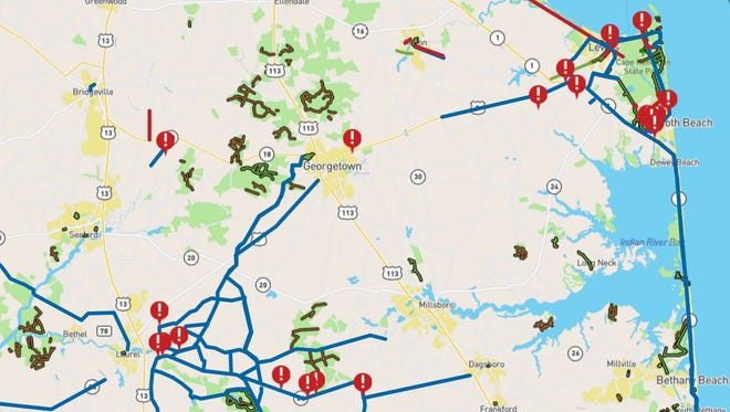 A screenshot from DelDOT's Delaware Bicycle Plan interactive map shows paths and potential barriers to cyclists  Sussex County.