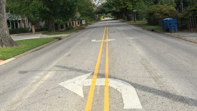 The city has removed the middle turn lane along a section of St. Mary Boulevard in Lafayette.