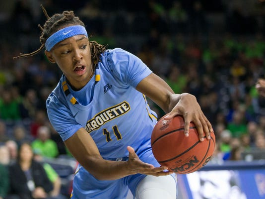 FILE - In this Dec. 20, 2017, file photo, Marquette's Allazia Blockton (11) grabs a loose ball during the second half of an NCAA college basketball game against Notre Dame in South Bend, Ind. The Marquette women's basketball team is hoping to break through this year in the NCAA Tournament. The Golden Eagles are back in the tourney this year as a No. 8 seed after winning the Big East regular-season title.  (AP Photo/Robert Franklin, File)