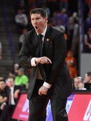 Clemson head coach Brad Brownell coaches against Florida