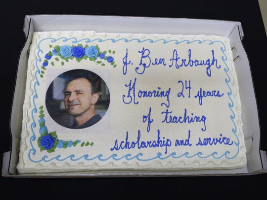 "Cake was served after Ben Arbaugh's ""Last Lecture"" on Thursday."