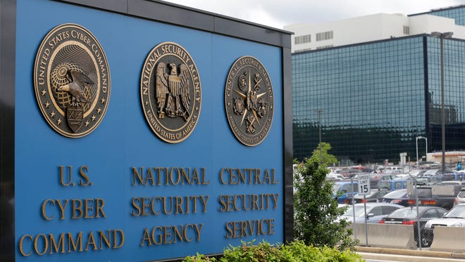 A sign outside the National Security Agency headquarters.