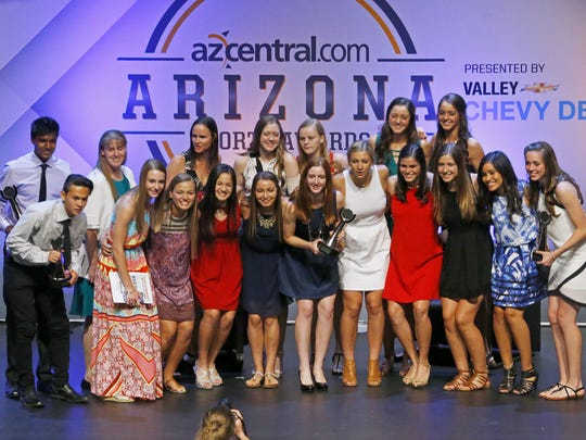 Award winners pose for a group shot during the Arizona