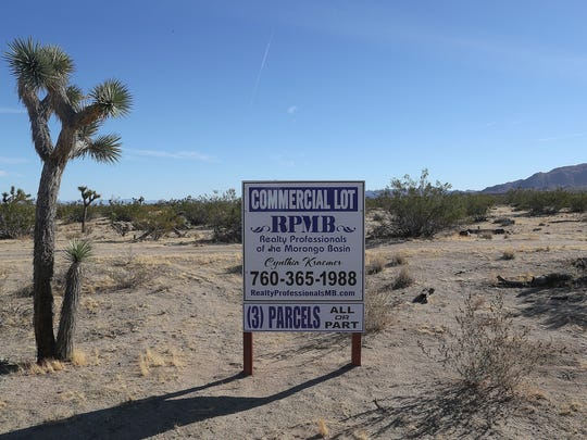 A commercial lot for sale in the area between Avalon Ave and La Contenta Rd in Yucca Valley, November 24, 2017.