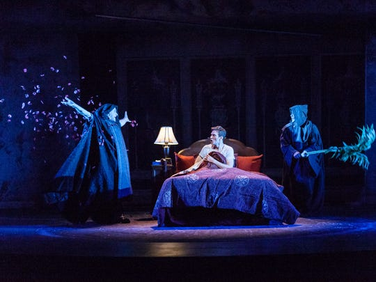 """Lou Liberatore, Mark Junek and Brian Slaten in Tony Kushner's """"Angels in America, Part One: Millennium Approaches"""" at Actors Theatre of Louisville."""