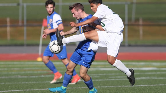 Yorktown defeated Mahopac 2-0 in boys soccer playoff action at Yorktown High School Oct. 20, 2017.