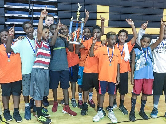 Garden Terrace Unit's winning basketball team during the Boys and Girls Clubs of St. Lucie Field Day.