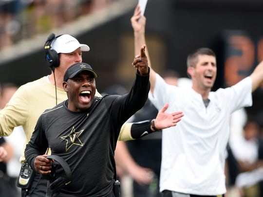 Vanderbilt head coach Derek Mason gestures from the sideline late in the second quarter of a game against MTSU at Dudley Field Saturday Sept. 10, 2016, in Nashville, Tenn.