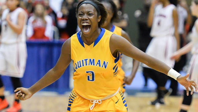Quitman's Shonte Hailes celebrates following the Lady Panthers' 58-48 win over Florence in the Class 4A championship at Mississippi Coliseum on Thursday.