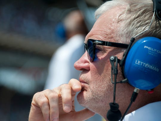 Letterman watches the race action from the Rahal Letterman Lanigan Racing pit box at Indianapolis Motor Speedway in 2012.
