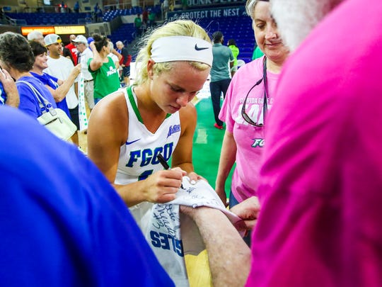 Fans congratulate the players after the game The FGCU women's basketball team played Bethune-Cookman, in their first round game in the Women's NIT. The game was played in Alico Arena, Fort Myers, Florida, Friday, March 18, 2016.