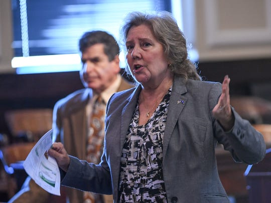 Karen Albert, a contractor for the National Institute of Corrections, speaks during a jail overcrowding meeting in the Anderson County Council Chambers in Anderson on Thursday.