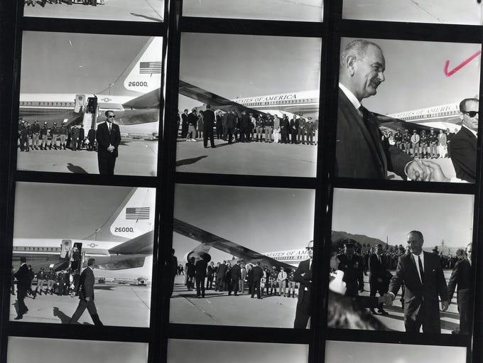 Twelve photographs of President Lyndon B. Johnson arriving