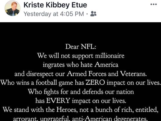 This is the Facebook meme that Col. Kriste Kibbey Etue
