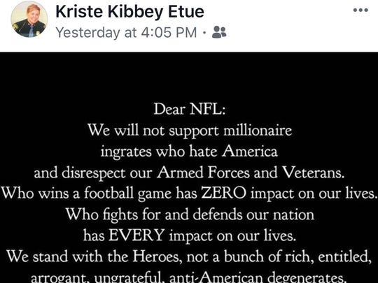 This is the Facebook meme that Col. Kriste Kibbey Etue shared on her personal page, sparking outrage.