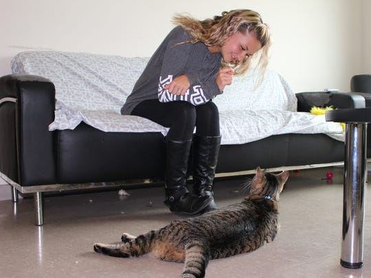 Florida SouthWestern State College freshman Taylor Petrizzo, 18, depends on her cat, Junior, to help her deal with anxiety and depression. Junior is an emotional support animal.